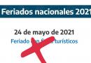 El Gobierno suspenderá el feriado puente del 24 de mayo.
